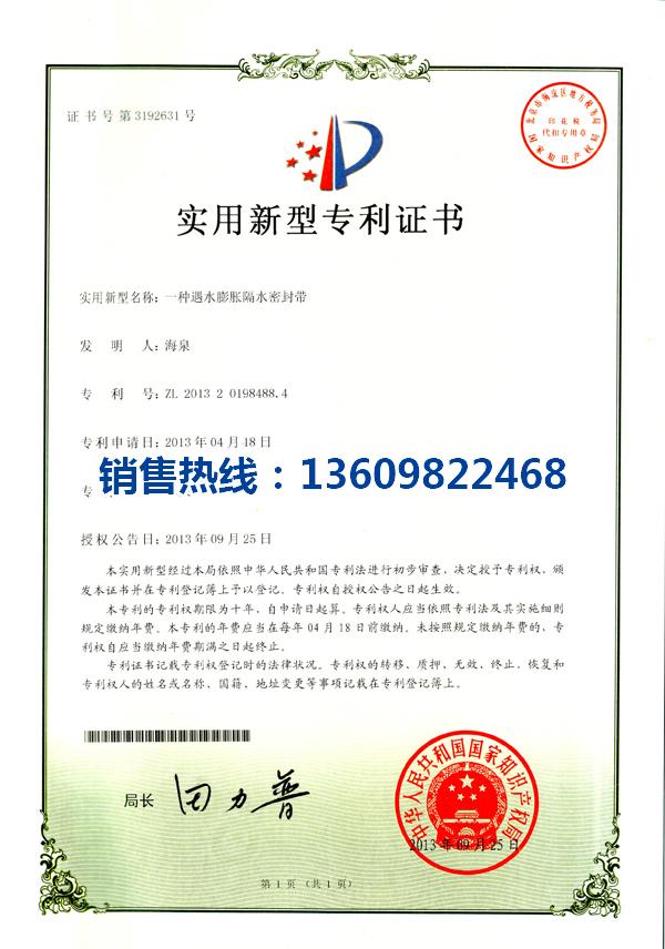 密封带专利证书